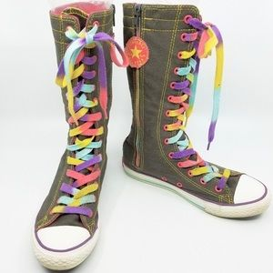 Converse All Star Knee High Boots w/ rainbow laces